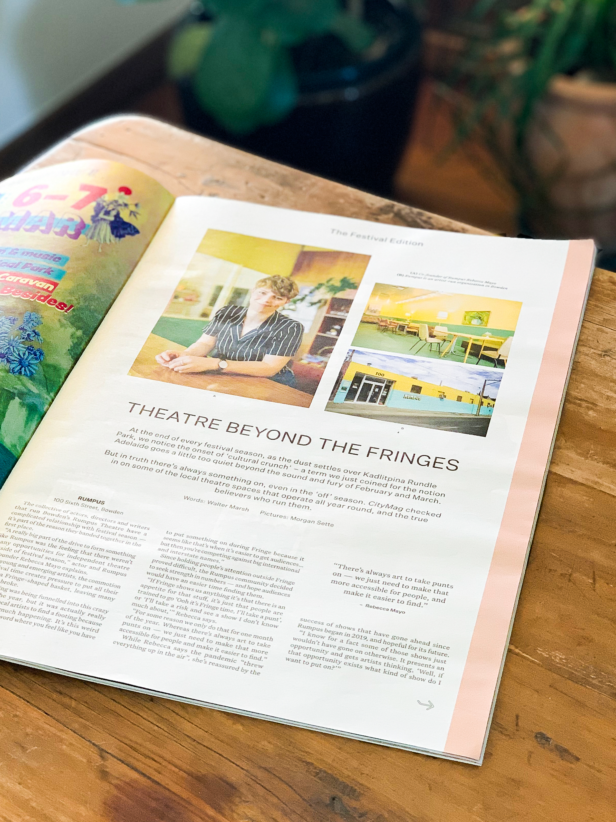 Theatre beyond the Fringes feature for CityMag, February 2021