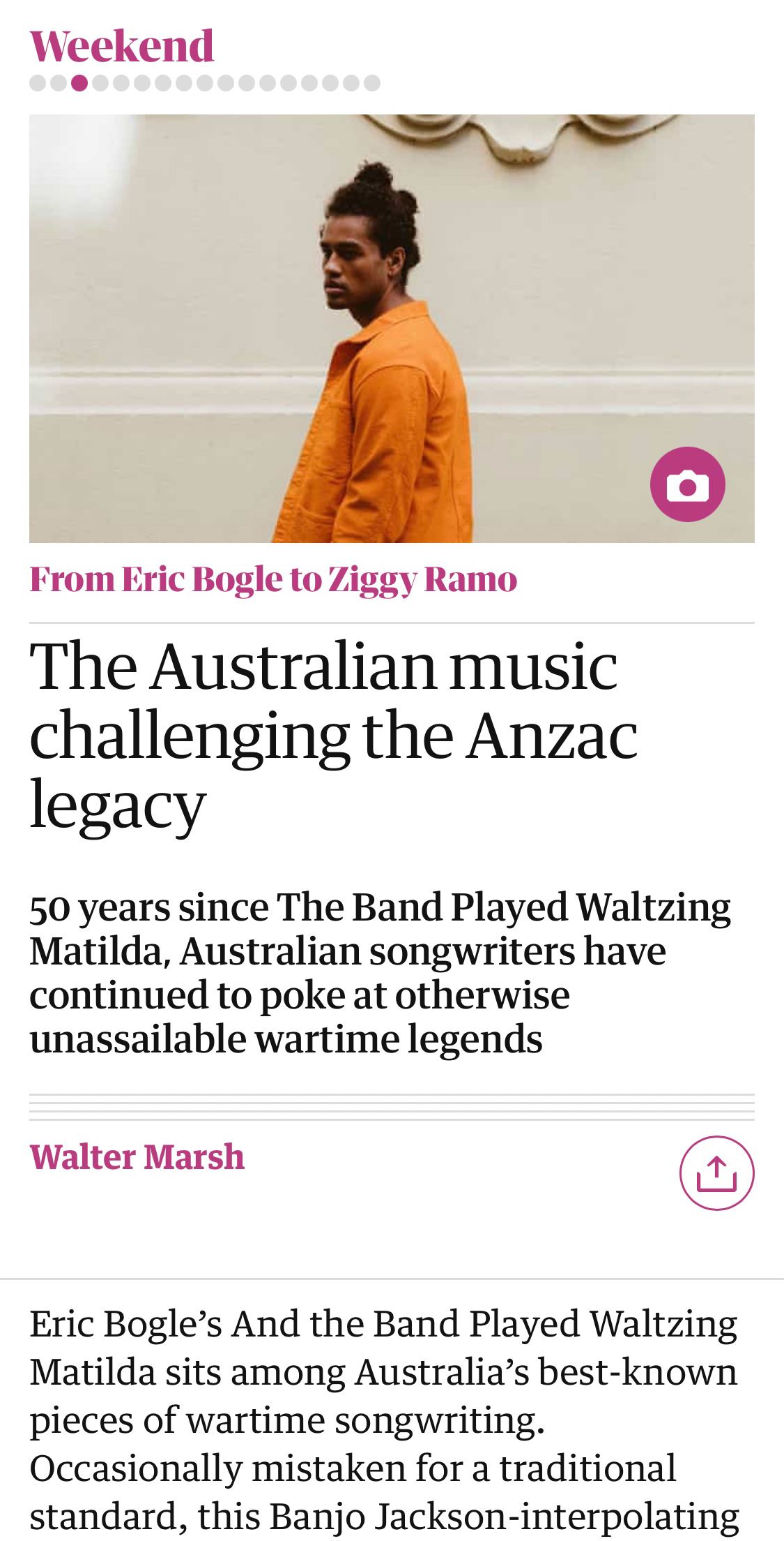 From Eric Bogle to Ziggy Ramo: the Australian music challenging the Anzac legacy for The Guardian