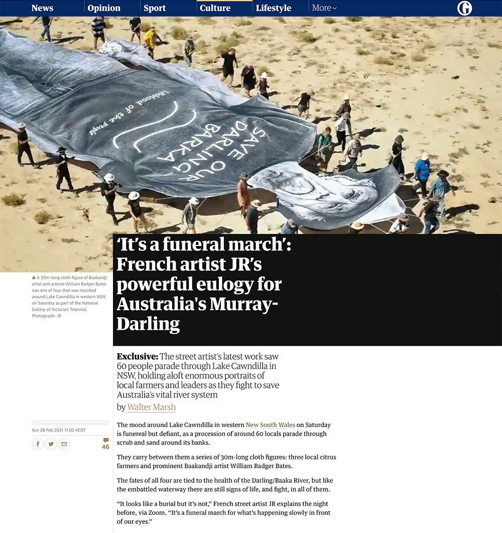 'It's a funeral march': French artist JR's powerful eulogy for Australia's Murray-Darling for The Guardian